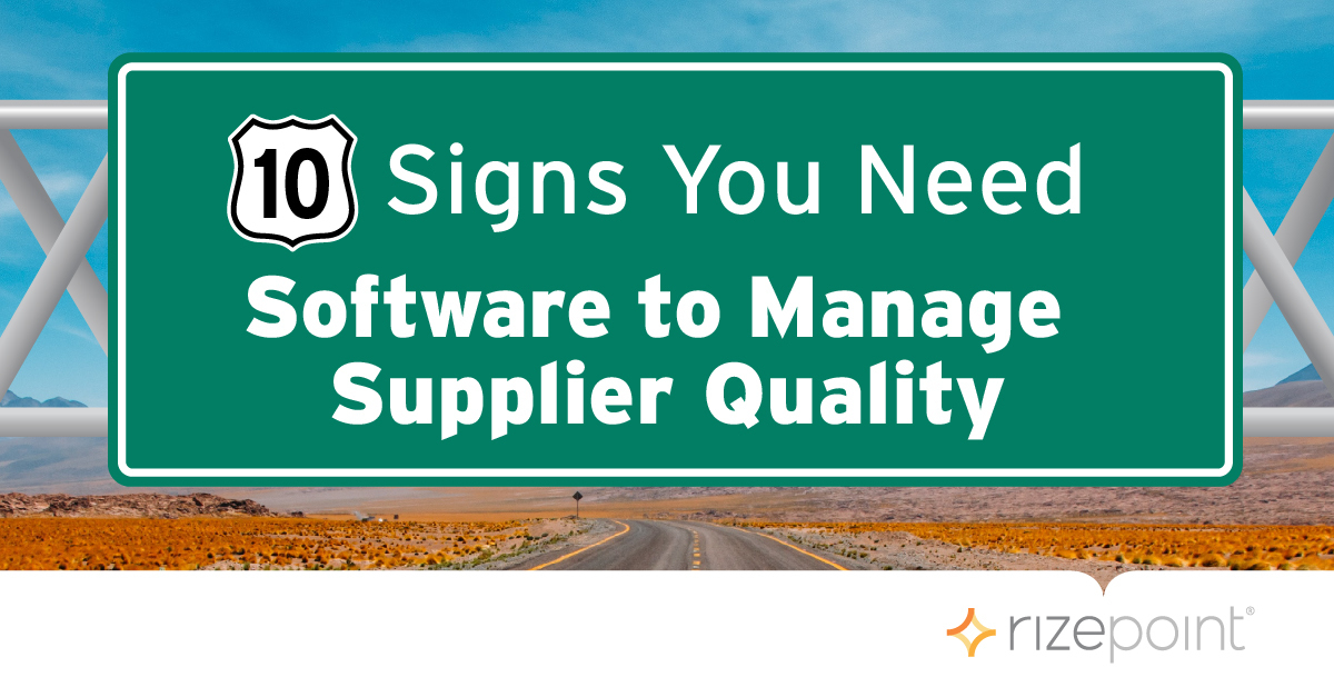 Software to Manage Supplier Quality Road Sign